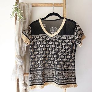 Vintage Mesh Embroidered Top